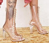 al por mayor la cremallera de los talones-2017 botas de becerro de las mujeres desnudas del color de los pantalones del pvc de los booties talones transparentes del bota de la parte posterior del cierre relámpago detrás zapatos de vestido del partido peep toe ata para arriba cargadores del verano