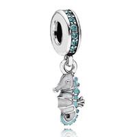 Colgantes tropicales Baratos-Auténtico 925 Sterling Silver Bead encanto azul esmalte Tropical Seahorse colgante de cuentas aptos mujeres Pandora pulsera brazalete DIY joyería HKA3555