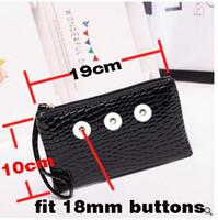 Wholesale PU leather snap button wallet Bag cm long cm wide fit mm mm snaps