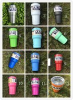 Wholesale 30oz Yeti Mugs Rambler Cups Tumbler Gold Lime Green Powder Coated Red Black Orange Light Blue Purple color available send fast