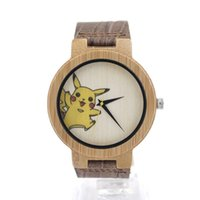 Casual Men's Not Specified 1 Mens Bamboo Wooden Quartz Watches UV Tech Pikachu Dial Casual Sport Dress Watches with Leather Band in Gift Box Drop Shipping