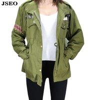 anorak pattern - JSEO Women Casual Anorak Army Utility Jacket Parka Drawstring Military Coat Fashion Stand Collar Safari Green Jackets