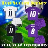 Wholesale 2016 Real madrid kids boy kit Soccer Jersey Benzema NAVAS Ronaldo football Modric Kroos Sergio Ramos Bale Marcelo jamesshirts