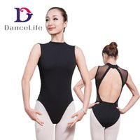 Wholesale mock turtleneck dance leotard mesh dance leotards women low back ballet dance leotards ballet leotards A2050