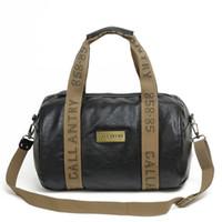 Wholesale Unisex Boston Bag Weekender Holdall Black Fine PU Faux Leather with Khaki Canvas Trim Travel Bag Gym Bag European Design Vintage Style