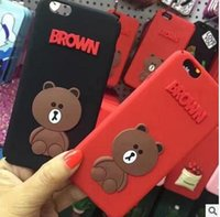 For Apple iPhone Silicone Green Wholesale Korean Red Brown Bear Iphone 7 Plus Silicone Cell Phonw Cases 2017 Cute Animals Cell Phone Accessories 224