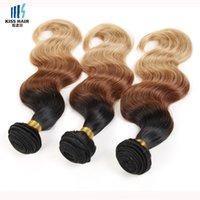 1kg Venta al por mayor T 1b 33 27 Ombre Extensiones de cabello humano brasileño coloreado brasileño Tejido Bundles Brown Rubia cuerpo onda recta