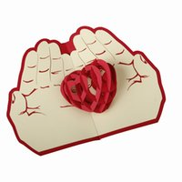 Wholesale pieces D Pop Up Greeting Card Paper Carving Heart in Hand For Lover Anniversary Valentine Day Wedding Cards