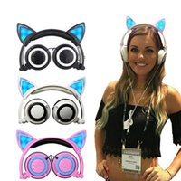 apple gaming pc - The most stylish Foldable Flashing Glowing Cute Cat Ear Headphone Gaming Headset Earphone with LED light For PC Laptop Computer Mobile Phone