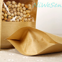beef packing - 14X20 X Brown Stand up kraft paper ziplock bag with transparent window clip seal dry fruit beef jerky packing sack