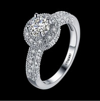 Wholesale Grace Moments Classic Diamond Wedding Rings Marked Engagement Ring White Gold Filled Finger Rings LKN18KRGPR813 C