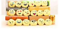 Wholesale BFFA128 QQ Emoji key chain Smiley Pillow Accessori Small Plush Doll Keychain Pendant Emotion Yellow Expression Stuffed Toys Christmas gift