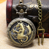 antique horse clocks - Fullmetal Alchemist Bronze Horse Clock Hollow Quartz Pocket Watch Chian Men Women s P424C