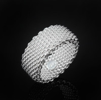 Wholesale B42 Europe and the United States trend of fashion jewelry ring plated sterling silver mesh ring