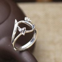 Wholesale Sterling Silver Women Engagement Ring x13mm Oval Cabochon Semi Mount Retro Fine Silver Ring
