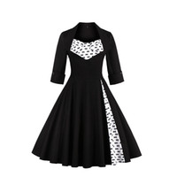 audrey hepburn dress - 2017 Plus Size S XL Audrey Hepburn Vintage Style Casual Dresses European Fall Winter Long Sleeves Black Women Clothing FS0955