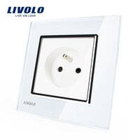 ac power socket panel - LS13 Livolo New Outlet French Standard Wall Power Socket VL C7C1FR White Crystal Glass Panel AC V A