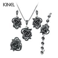 Wholesale Hot Rose Black Crystal Jewelry Set Plating Ancient Silver Sets Vintage Wedding Jewelry For Women Valentine s Gift