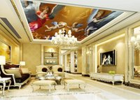 Wholesale Customized d ceiling wall paper European style angel wallpaper for walls d ceiling murals wallpaper for living room ceiling