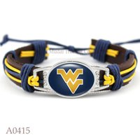 bar west - New Fashion West Virginia Mountaineers Adjustable Leather Cuff Bracelet for Athletic Team Mens Sports Wristband Jewelry