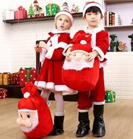 fancy bags - 2017 Kids Clothing Sets Girls Christmas Santa Claus Fancy Dress Boys Costume Clothes With Hat Gift Bag Backpack Outfits Set