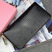 La nouvelle marque de mode de crocodile imprimé fermeture à glissière pu cuir femmes portefeuilles longues de haute qualité double couche sac à main d'embrayage monnayeur # 68070