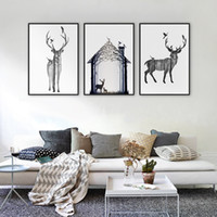 Wholesale 3 Pieces Wall Art Set Modern Abstract Deer Picture Oil Painting Home Decor Canvas Pictures For Living Room