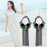 other article europe - Europe and the United States big popular adorn article Ms crystal earrings long tassels eardrop trend Allergy free earrings