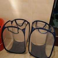 Wholesale high quality laundry basket fashion clothes washing polyester steel wire red pink blue black yellow grey laundry hampers
