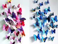 Wholesale Best price set PVC Magnet D Butterfly Wall Sticker Decals Home Decor Poster For Kids Rooms Art Stickers set
