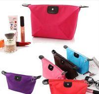 Wholesale Nylon Makeup Organizer Bag Candy Color Dumpling shape Waterproof Travel Cosmetic Washing Bags handbag totes z672 pc