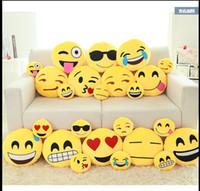 Wholesale Styles Soft Emoji Smiley Emoticon Yellow Round Cushion Pillow Stuffed Plush Toy Doll Christmas Present