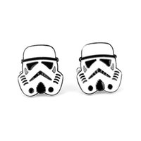 Wholesale Star Wars Cufflinks Galactic Empire Imperial Stormtrooper Enamel Mask Shirt Brand Cuff Buttons Silver Plated Cuff Links Jewelry