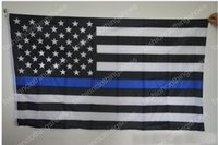 Wholesale 90 cm BlueLine USA Police Flags styles x5 Foot Thin Blue Line USA Flag Black White And Blue American Flag With Brass Grommets