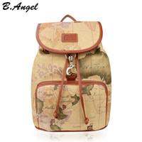 big high school - Designer backpack women high quality world map backpack leather men backpack big travel backpacks vintage school bags women men