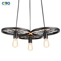 Wholesale Wheel Shape Slack Iron Wrought Vintage Pendant Lamp Edison Pendant lights E27 Lamp Holder V