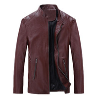 Wholesale 2016 Brand Clothing PU Leather Jacket Men Stand Collar Zipper Motorcycle Coats Male Leather Jackets Autumn Winter Overcoat Plus Size