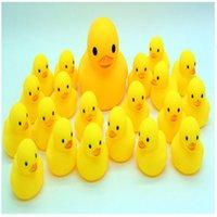 Wholesale Spot rhubarb duck Baby Bath Water Toy cm yellow duck toys g Sounds Yellow Rubber Ducks Kids Bathe Children Swiming Beach Gifts