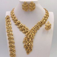 Wholesale 2016 bridal wedding jewelry set to yue leah s gold necklace earrings bracelet ring suit women deserve to act the role of the African wind