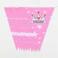 Wholesale Princess Pink Paper Banners Bunting For Kids Girls Birthday Party Decor Flags Baby Shower Favors