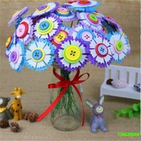 Wholesale DIY Flower Bouquet Color Button Non woven Material Creative For childrens Handmade Gift