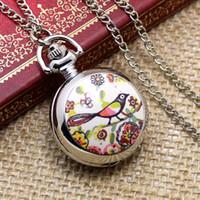 acrylic buyer - Retail buyer price good quality new fashion vine beautiful nice silver flower bird pocket watch necklace chain
