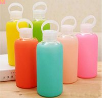 acid fun - Candy colors Fun creative mL glass cups Colored jelly cup kettle Silicone Case Cover carry a water bottle