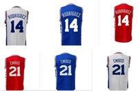 Wholesale Vanled Season New Men Joel Embiid RODRIGUEZ Stitched logos Home Road Alternate jersey shirts size small xl