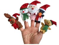 Stuffed baby bear puppet - Cartoon Christmas Santa Claus Finger Toys Puppet Plush Toy Snowman Bear Dolls For Kids Baby Children Gift set Free DHL Factory Price