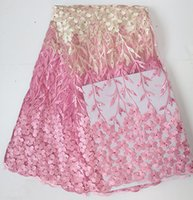 big nets - 5 yards pink beige french net lace African tulle lace fabric with of rhinestones for wedding for big occasions