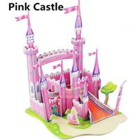 Wholesale Kid Toys Children Developmental Toy Puzzle Jigsaw D DIY Lovely Paper Castles Houses
