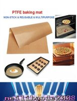 Wholesale NEW BBQ Grill Mat Stick Reusable Washable Plate PTFE Coated Telflon Mats brown CM MYY