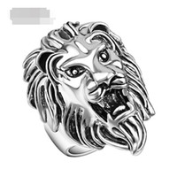Wholesale 12Pcs Jewelry Silver Plated Alloy Rock Punk Wedding vivid Lifelike animal great huge big Lion head ring woman man boy Hot j331