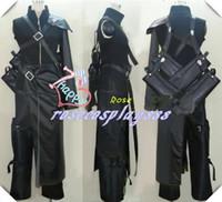 advent children cosplay - Final Fantasy VII Advent Children Cloud Strife Cosplay Costume Top sword backbag pants apron shoulder Armor Gloves wolf badge